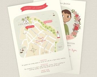 Add a custom illustrated map to your wedding invitation |  5x7 or A5