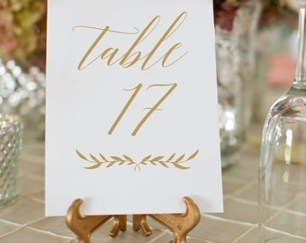 Gold Wedding Table Numbers, Printable Wedding Table Numbers, 5x7 Table Numbers Wedding, Wedding Signs, Wedding Table Cards