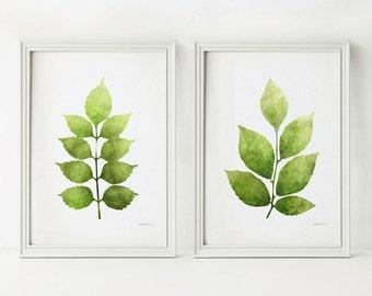 green leaves prints for home decor botanical printable art home garden wall art 5x7