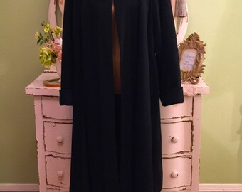 Womens Wool Coat, Black Winter Coat, Minimalist Coat, XL-XXL, Long Dress Coat, 50s Swing Coat, Sophisticated Coat, Warm Black Wool Coat