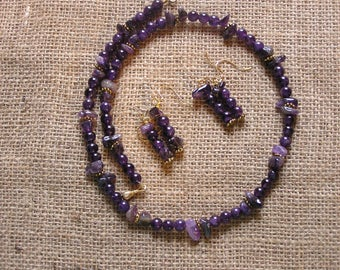 Amethyst necklace and one pair of earrings.