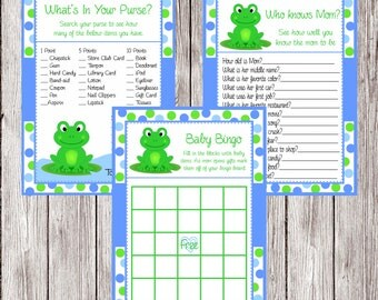 Frog Baby Shower Games-3 Games (Instant download, you print)