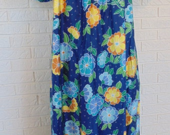70's Retro MUMU NOS Moo Moo XL 38-40 Robe dress bright flowers