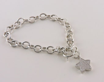 """Sterling Silver And Diamond Star Toggle Charm Bracelet 7 1/4"""""""