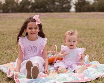 Toddler Monogrammed Dress | Seersucker Dress | Monogram Easter Dress | Infant Monogrammed Dress | Spring Dress | Girls Easter Dress | Outfit