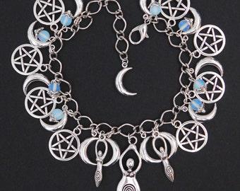 Pagan Wicca Moonstone Celestial Moon Pentagram Triple Goddess Charm Bracelet