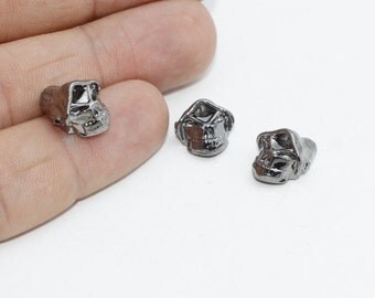 10 Pcs Gunmetal Skull Beads, Men bracelet Charms, Skull Charms , 11x14mm , KDR156