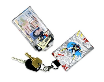 DC Comics Batgirl Female Superheros Mini Wallet Card Holder Keychain Clear ID Holder Small Wallet Student ID Badge Credit Card Keychain Bag