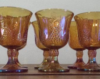 Vintage Rare Indiana Harvest Goblet Carnival Glasses Golden/Amber Color - 8 Total 1960 D626