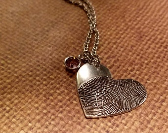INK-1 LARGE FINGERPRINT heart Necklace in solid Fine .999 Silver-includes chain