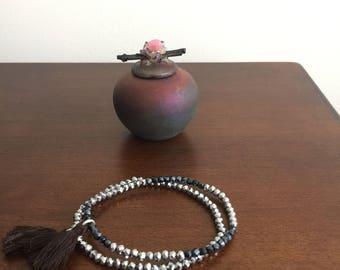 Set of two silver chrome iridescent Multicolor Boho crystal bead bracelets stretch bracelet Handmade elastic bracelet strand bracelet tassel
