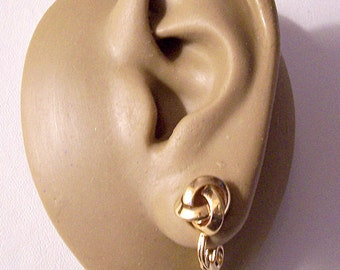 Monet Bevel Edge Knot Clip On Earrings Gold or Silver Tone Vintage Small Round Open Smooth Weaved Bands