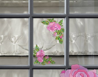 Window Decals With Stained Glass Effect, Static Window Clings, Pink Roses, Stickers for Glass and Mirrors, Stained Glass Window Film