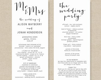 Greenery Booklet Wedding Program Template Booklet Order of
