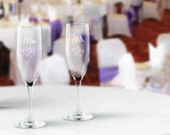 Set of 2 wedding toasting champagne glasses, wedding  flutes, anniversary champagne, engagement flutes, stemmed champagne, vow renewal