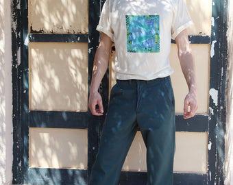 Vintage Lee Cooper cotton petrol blue-green high waist men's pants.size 30