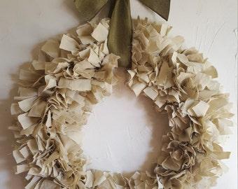 Rustic, handmade shabby chic rag wreath