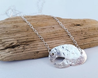 Lobster Necklace / Hammered Sterling Silver Lobster Claw Necklace / .925 Sterling Silver / Maine made jewelry / Maine Lobster / Gift for Her