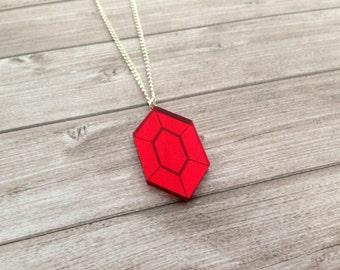 Zelda red rupee necklace - The Legend of Zelda, Nintendo, Breath of the Wild, geek, cute, japanese, Link, Ganondorf, lasercut acrylic