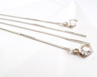 Ears heart Crystal facets short or long silver chains 925 sterling silver celebration of mothers gift Threader earrings