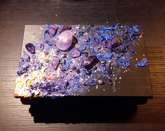 Amethyst Wooden Box, hand painted with oils and crystals. Gift, black trinket, starry night galaxy, medium size. Original, unique & one-off!