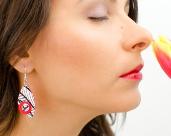 Red dangle earrings, Valentines gift for her, Modern earrings, Black and white earrings, Red earrings, Abstract earrings, Unique earrings
