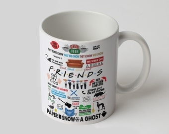 Friends logo mug Printed coffee mug Tea cup Cool mug Coffee cup Friends tv show mug Printed cup Ceramic mug Funny cup Cute cup Tea mug 002