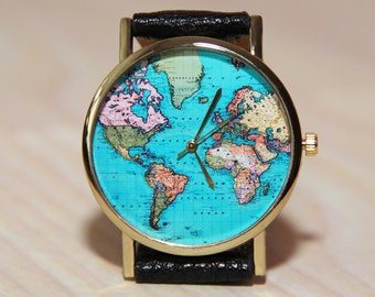 World map watch etsy wristwatches travelers wristwatch world map globe clock womens watch mens watches gumiabroncs Images