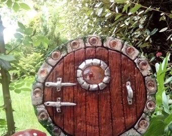 Fairy Door, amber glass window,  brown, freestanding clay fairy door