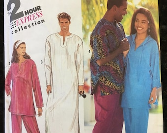 Simplicity 7242 Mens/Womens Caftan // Pants // Top Vintage Sewing Pattern Sizes XX- Small, X-Small, Small, Medium, Large, X-Large, OOP