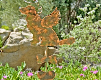 Golden Retriever Pet Memorial Garden Stake / Metal Garden Art / Copper Art / Grave Marker / Angel Dog / Outdoor Dog Sign / Statue