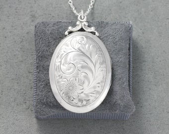 Sterling Silver Birks Locket Necklace, Classic Large Oval Vintage Photo Pendant - Inspired