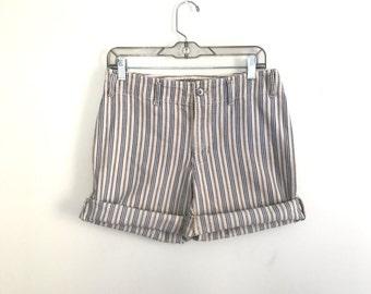 90s nautical stripe mid-rise Liz cutoff denim shorts size US 8