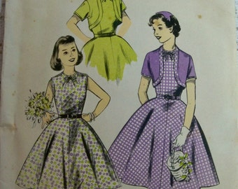 Girls Dress Sewing Pattern 1956 Size 8.5 Advance 7941 Chub-Deb Girls Bolero Pattern Supply Rockabilly 50s Sew Easy Sleeveless Dress Flared c