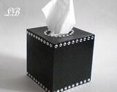 BLACK & BLING Tissue Box Cover - Decorative Handpainted Black w/Sparkling Clear Rhinestones