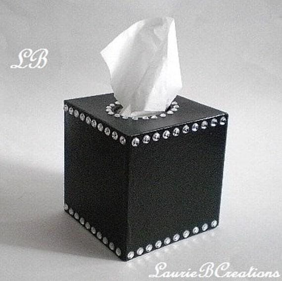 Decorative Tissue Box Cover Unique Black & Bling Tissue Box Cover Decorative Handpainted Black Inspiration