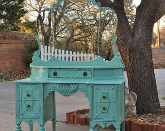 GORGEOUS VANITY! Aqua Tourmaline Painted Antique Vanity - Shabby Chic Makeup Vanity - Ready to Ship