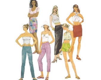 Low Rise Pants and Skirt in 3 Lengths Easy to Sew McCalls Sewing Pattern 3268 Size Medium Waist 26.5 to 28 Straight Cut Style