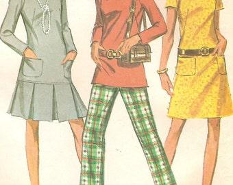 Vintage 60s Dress Tunic & Pants Size 14 Uncut Sewing Pattern 1969