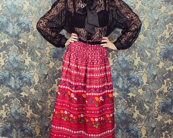 Floral maxi skirt, Peasant skirt, red maxi skirt, medium