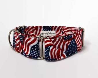 American Flags Adjustable Dog Collar - Martingale Collar or Side Release Buckle Collar - Patriotic USA collars - Memorial / 4th of July