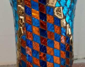 Stunning One of a Kind Mosaic Vase or Candleholder