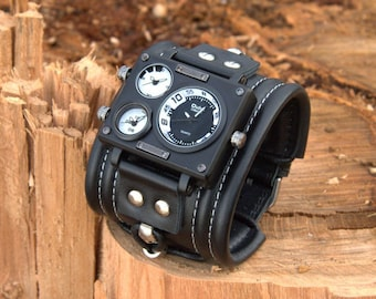 """Mens wrist watch bracelet """"Caribs-2"""". Steampunk watch. Black watch. Men's band. Watch for him. Gift for her. Gifts"""