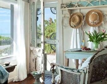 Radiant Summer lighting beach seashell suncatcher mirror golden shells encrusted scallop periwinkle frame ornamental cottage bungalow decor