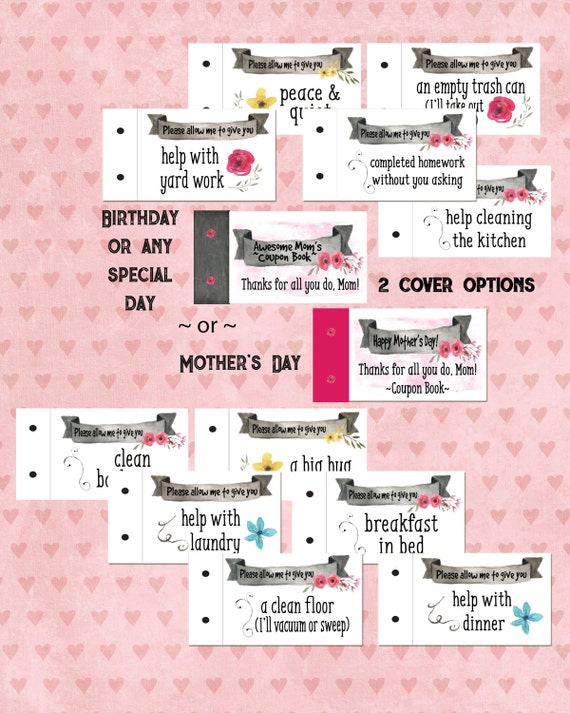 mothers day coupon book printable coupon book gift for mom. Black Bedroom Furniture Sets. Home Design Ideas