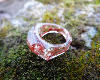 Natural jewelry boho teen gift women gift ideas halloween jewelry burgundy lichen unique rings gothic jewelry mystic magic resin ring lucite