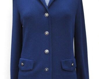 70s Navy Knit Top, 80s Castleberry Jacket Vintage Dark Blue Gold Button Top Dacron Polyester, Nautical Jacket Size 8 Castleberry Knits Med