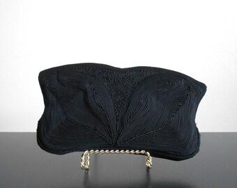 40s vintage bag - Corde clutch black gimpe black clutch - 40s Night Away bag