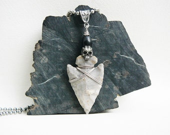 Arrowhead Necklace, Skull Necklace, Men's Necklace, Surfer Necklace, Skull Jewelry, Urban Tribal Necklace, Beach Necklace, Necklace For Men