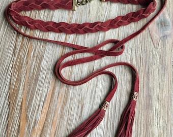 Leather Choker Lariat with fringe tassel